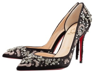 Christian Louboutin Embellished Crystal Classic Heels Sparkle Flashy Sequined Holiday Formal Event Black Pumps