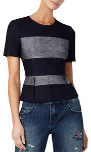 BCBGMAXAZRIA Pemplum Denim Color-blocking Top Dark Midnight