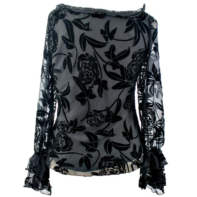 Anne Carson Woman Designer Top Black Rayon Blends Floral