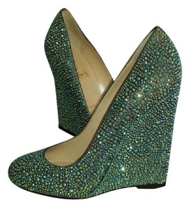 Christian Louboutin Wedge Collectors Teal Multi Crystal Wedges