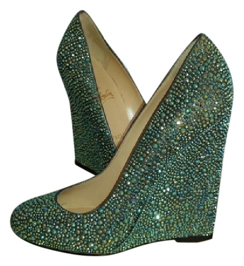 Preload https://item5.tradesy.com/images/christian-louboutin-teal-multi-crystal-lady-lynch-zeppa-strauss-120-swaorvksi-wedges-size-us-6-3132574-0-1.jpg?width=440&height=440