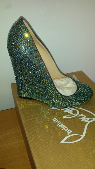 Christian Louboutin Collectors Red Soles Teal Multi Crystal Wedges