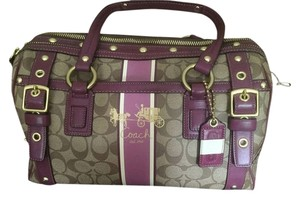 Coach Satchel in Tan and burgundy
