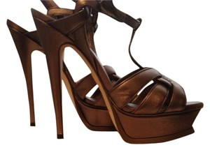 Saint Laurent Leather Detail Bronze Sandals