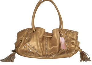 Paris Hilton Studded Satchel in Metallic Gold Leather