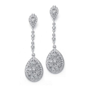 Mariell Graceful Faux Marcasite Dangle Earrings E017