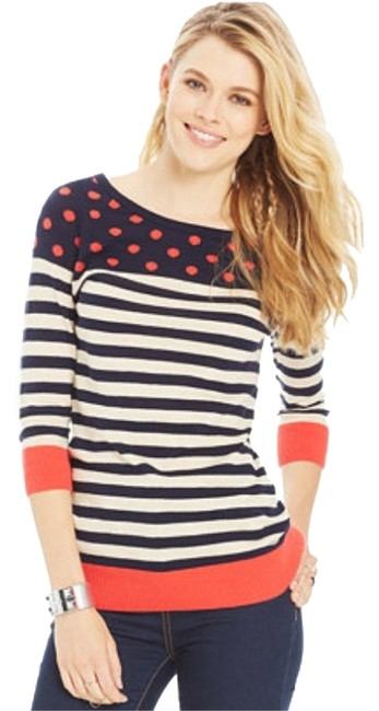 Item - Large Navy Blue and Red Sweater