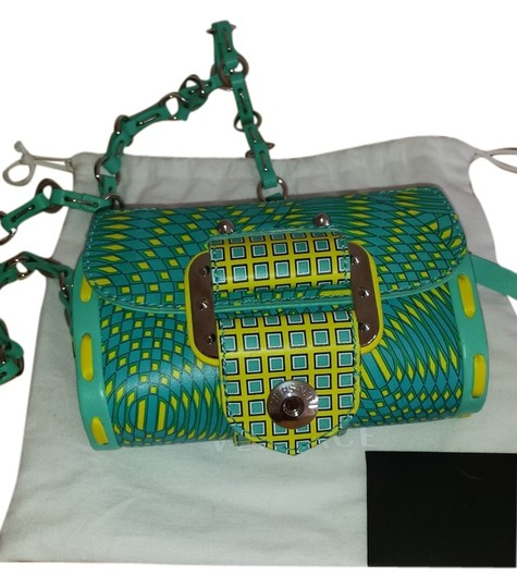Versace Metallic Hardware Teal and Yellow Clutch