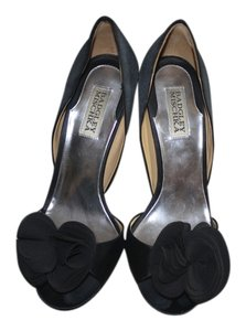 Badgley Mischka Blossom Pump Open Toe Satin D'orsay Black Formal