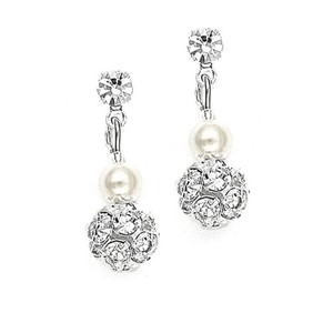 Mariell Dainty Wedding Earrings With Pearl & Rhinestone Fireball 1125e