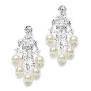 Mariell Silver Swarovski Crystal Pearl Chandelier 1254e Earrings