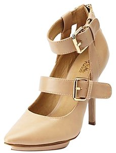 Charlotte Russe Strappy Buckled Ankle Strap Nude Pumps