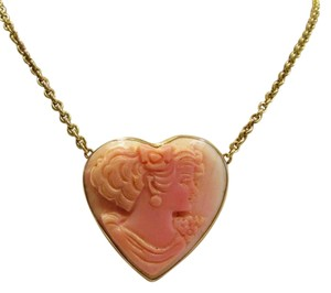 AMEDEO M&M Scognamiglio Pink Shell 14kt Heart Shape Cameo Necklace