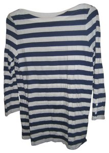 Gap Nautical Long Sleeved Boatneck Pima Cotton Top Blue and White Stripes
