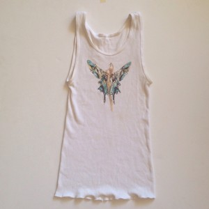 Other Butterfly Studded Wifebeater Top White