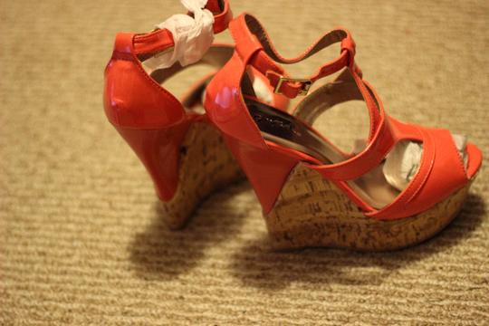 Qupid Strappy Ankle Strap Sandal Pink Wedges