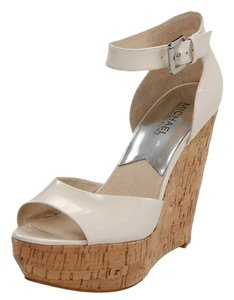 Michael Kors Cream Cork Sandal Patent Vanilla Wedges