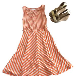 Calvin Klein short dress Orange And Cream Stripe on Tradesy
