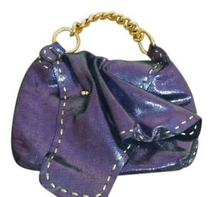 Carlos Falchi Color Shimmer Multi Metallic Purple Gold Clutch