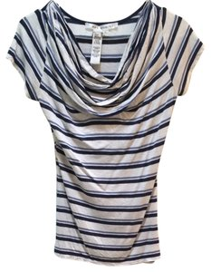 Max Studio T Shirt Beige/blue Stripe