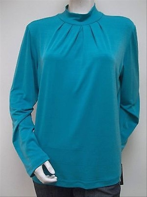 Other Southern Lady Aqua Jersey Tonal Stripe Mock Neck Peacock Alley Top Blue