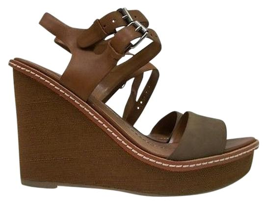 Dolce Vita Dv By Janna Taupe Leather Cognac Ankle Strap Wedge Taupe Cognac Platforms
