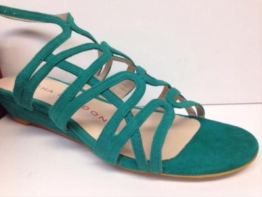 Sacha London Kid Suede Zinda In Box Strappy Jade Green Sandals