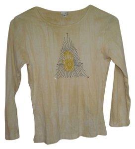 Yogi Hamsa Longsleeve Studded Cotton Machine Washable Top yellow