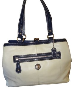 726640c497a0 Added to Shopping Bag. Coach Satchel in White. Coach Laura ~ Large Ivory  Spectator Framed Carryall ...