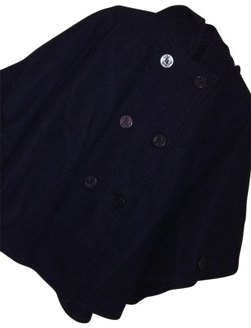 Item - Navy Blue Wool Inspired Poncho/Cape Size OS (one size)