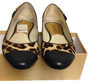 Michael by Michael Kors Printed Hair calf With Gold Hardware And Black Leather Flats