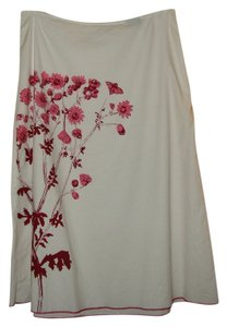 United Colors of Benetton A-line Painted Embellished Skirt White/Red & Pink