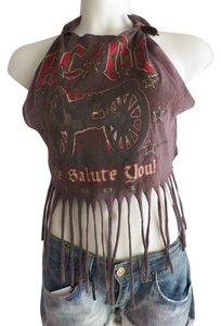 Recycled Fashions brown various Halter Top