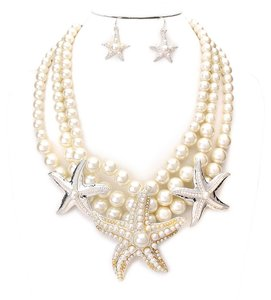Elegant Sealife Starfish Accent Pearl Necklace And Earring
