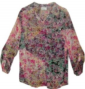 Avenue Polyester Semi- Sheer Lightweight Long Sle Top Multi Colored Print