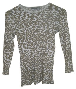 Oleg Cassini Sport Animal Print Top Gray