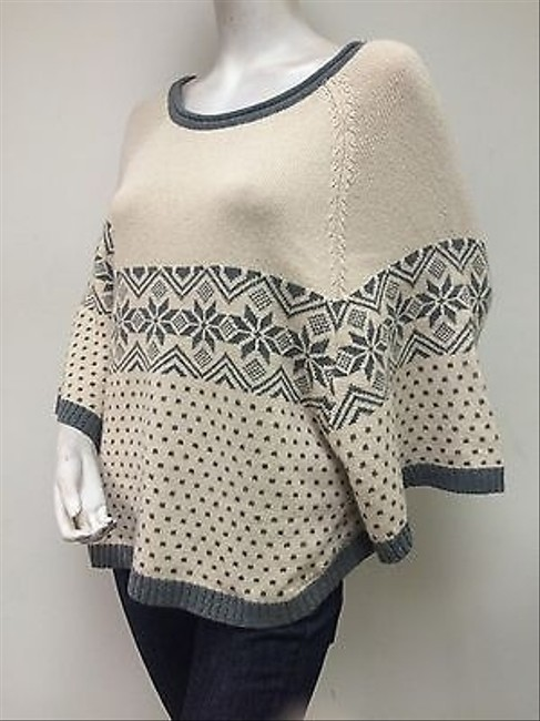 Ya Los Angeles Ivory Gray Fair Isle Rolled Neck Poncho Yl12547 Sweater
