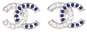 Chanel Chanel Earrings Blue White Pearl Bead Silver Hardware CC Logo Jumbo Maxi 15P 2015 Spring New Style Bag Box Classic Timeless