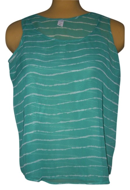 Old Navy Top Turquoise/white
