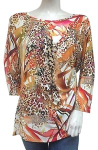 Conrad C C 34 Sleeve Animal Print Ruched Textured Orange Top Multi-Color