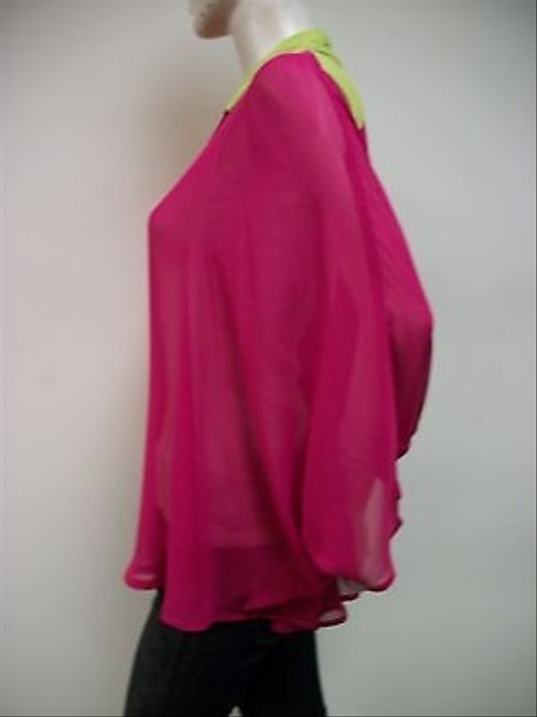 Other Alembika Pink Orange Green Colorblock Batwing Sleeve Flora Top Multi-Color