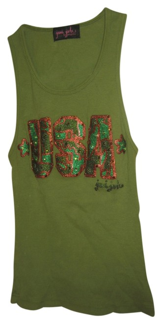 Joomi Joolz Los Angeles Usa Fourth Of July Camoflage Cotton Top Green