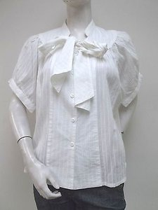 Tulle 100 Cotton Stripe Tie Neck Poet A2096 Top White
