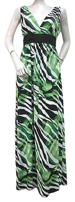 Multi-Color Maxi Dress by Other Dana Point Green Black Zebra Print Knit Maxi Made In Usa