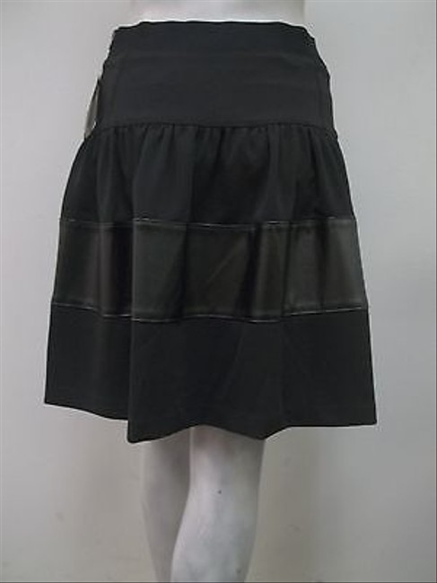 Badgley Mischka Mark James By Pleated Faux Leather Trim Flare Skirt Black