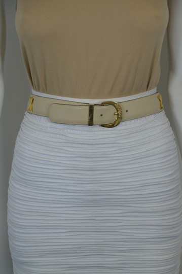Paloma Picasso PALOMA PICASSO FRENCH DESIGNER GENUINE LEATHER BEIGE BELT SIZE S
