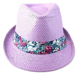 Lavender Purple Floral Accent Summer Hat Fedora