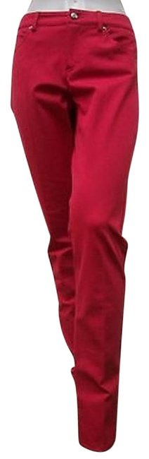 Other A Woman Taylor Six Pocket Style Pant Cotton Blend Red Straight Leg Jeans