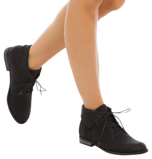 ShoeDazzle Suede Oxford Ankle Casual Black Boots