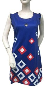 Tracy Negoshian Navy Blue Red Lisa Diamond Print Flutter Mini Dress